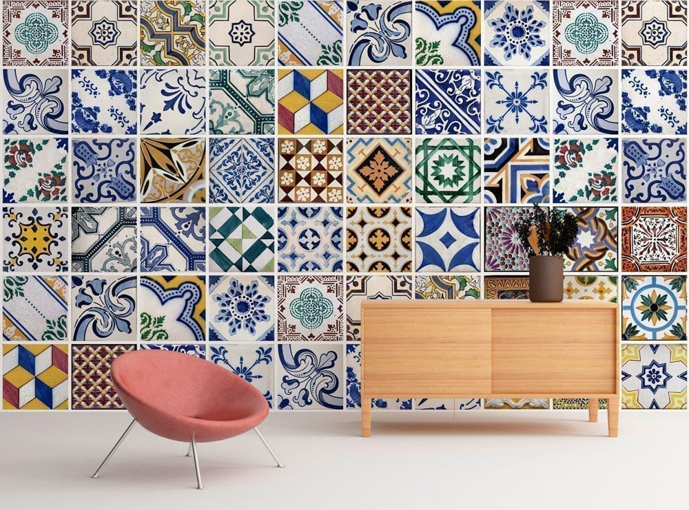 Portuguese tiles wall art - Stickers papier peint mural ...
