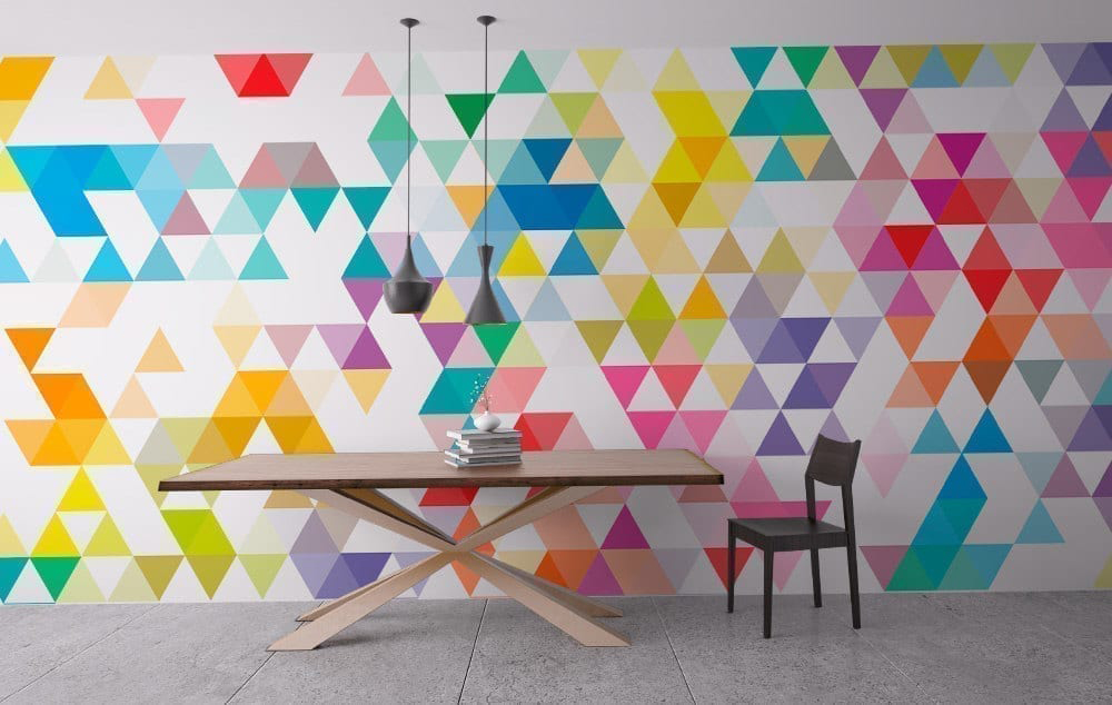 Wall art geometric mid century triangles Painting geometric patterns on walls