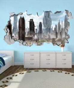 3D City SCI-FI Broken Wall