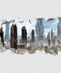 3D City SCI-FI Broken Wall Detail