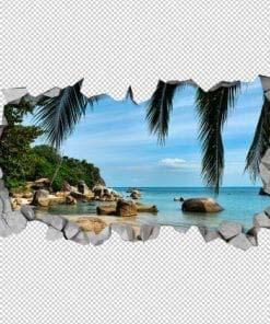 Beach Rocks 3D Wallpaper Detail