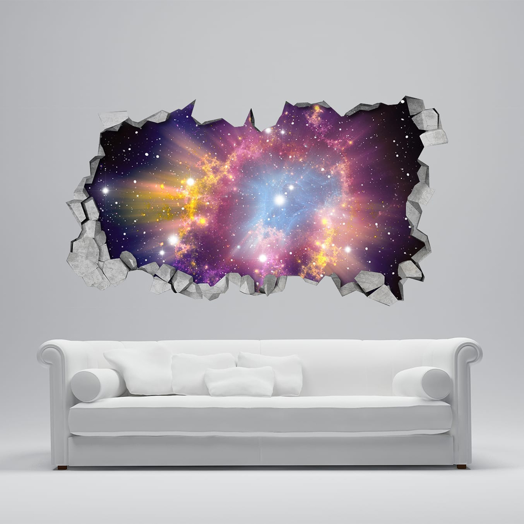 Cosmic broken wall 3d for Bedroom 3d wall stickers