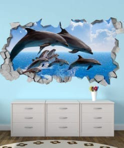 Dolphin Crowd 3D Wall