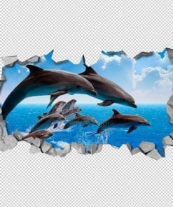 Dolphin Crowd 3D Wall Detail