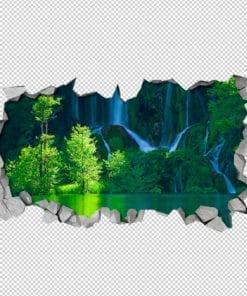 Green Waterfall 3D Wallpaper Detail