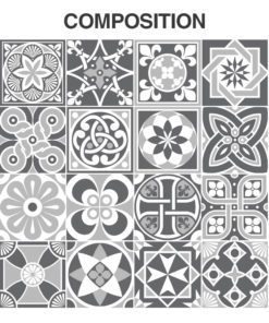 Grey Scale Floor Tile Decals - Composition