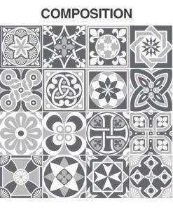 Grey Scale Floor Tile Decals - Composition