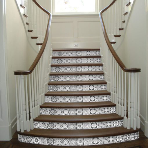 Grey Scale Floor Tile Decals - Stairs