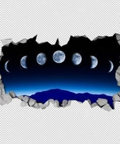 Moon Phases 3D Wall Detail