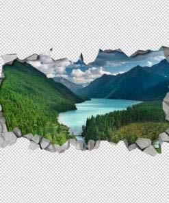 River Mountains Broken Wall Detail