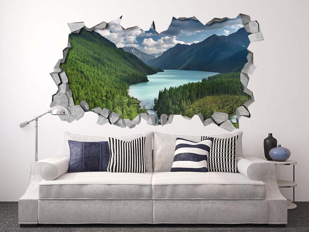 Wall Murals Product : River mountains broken wall moonwallstickers