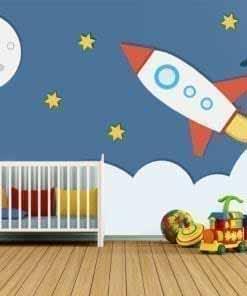 Space Rocket Nursery Decor Wall Art
