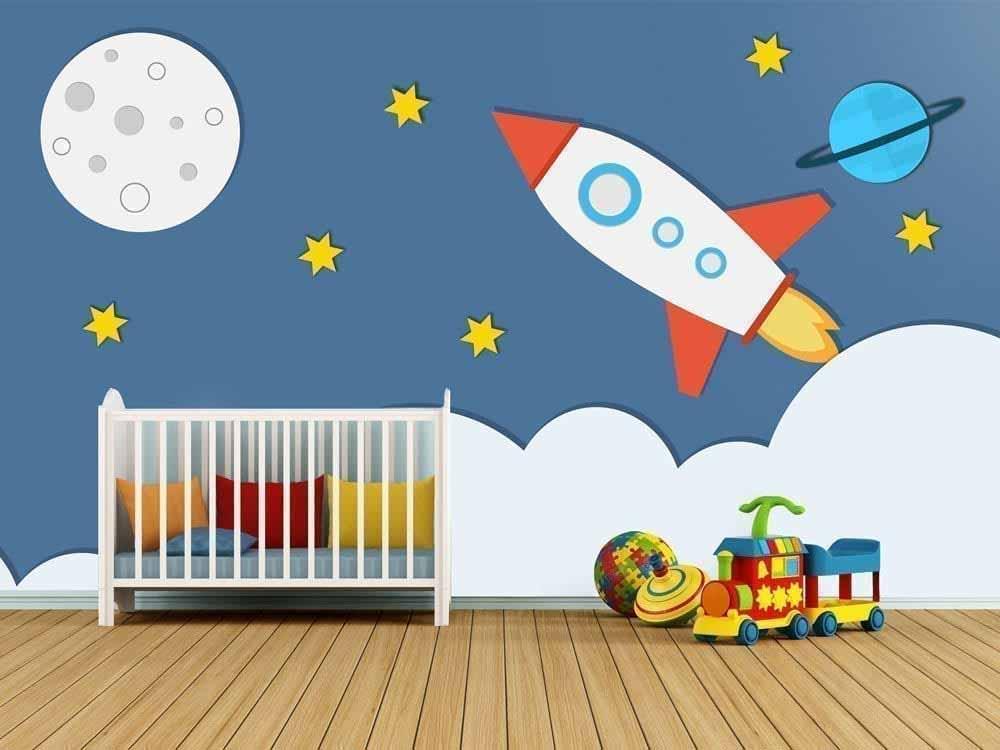 Cohete espacial cuarto de ni os - Papel para paredes infantiles ...