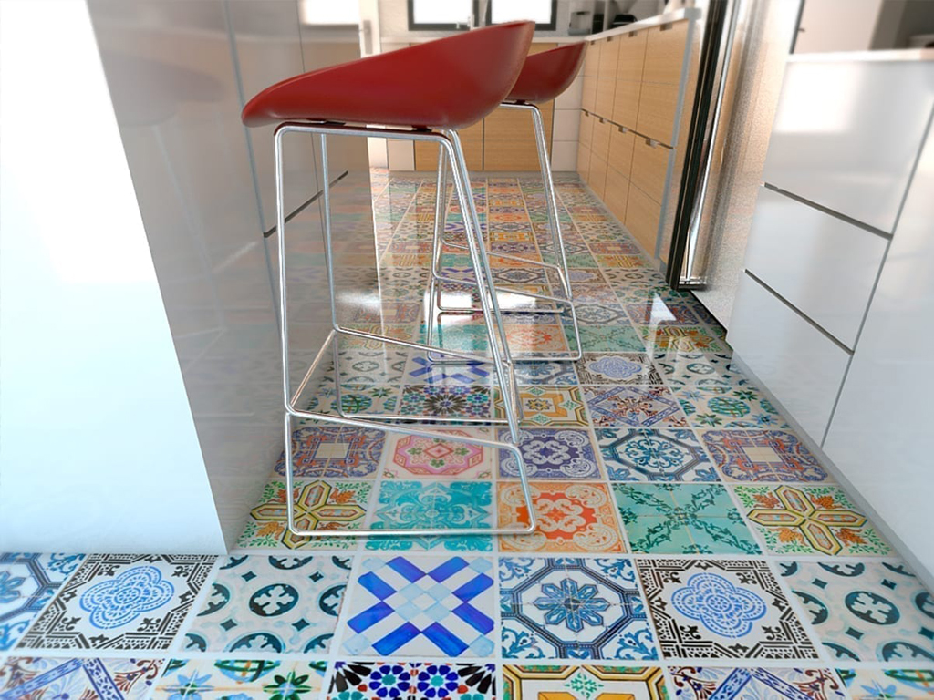Traditional spanish tiles floor
