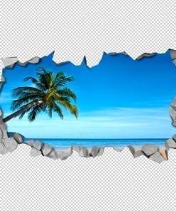 Tropical Beach 3D Wall Detail