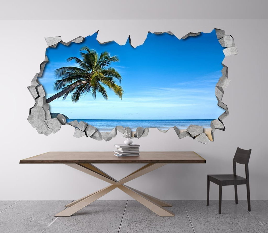 Tropical beach 3d wall for Decor mural 3d