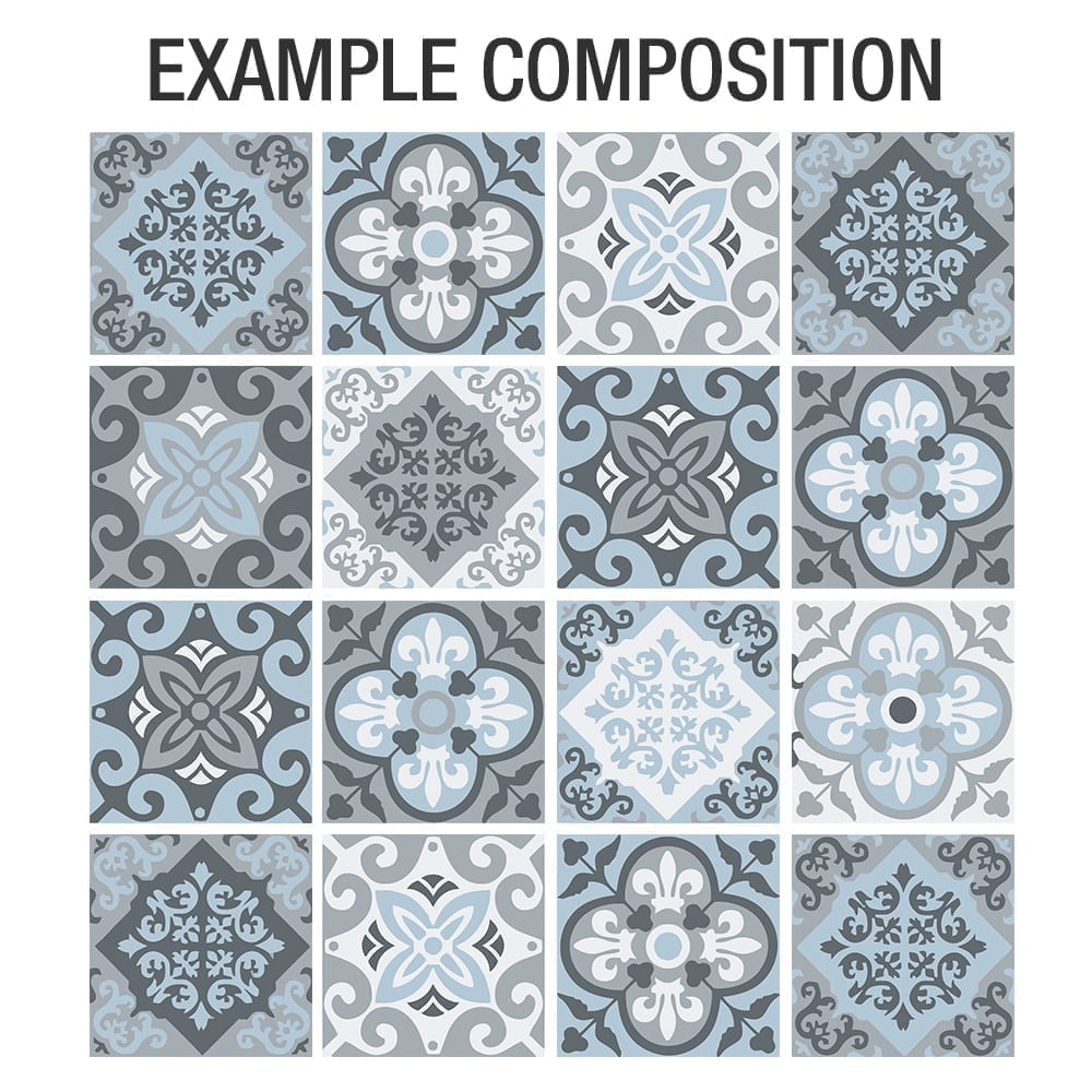 Vintage Blue Gray Floor Tile Decals Composition