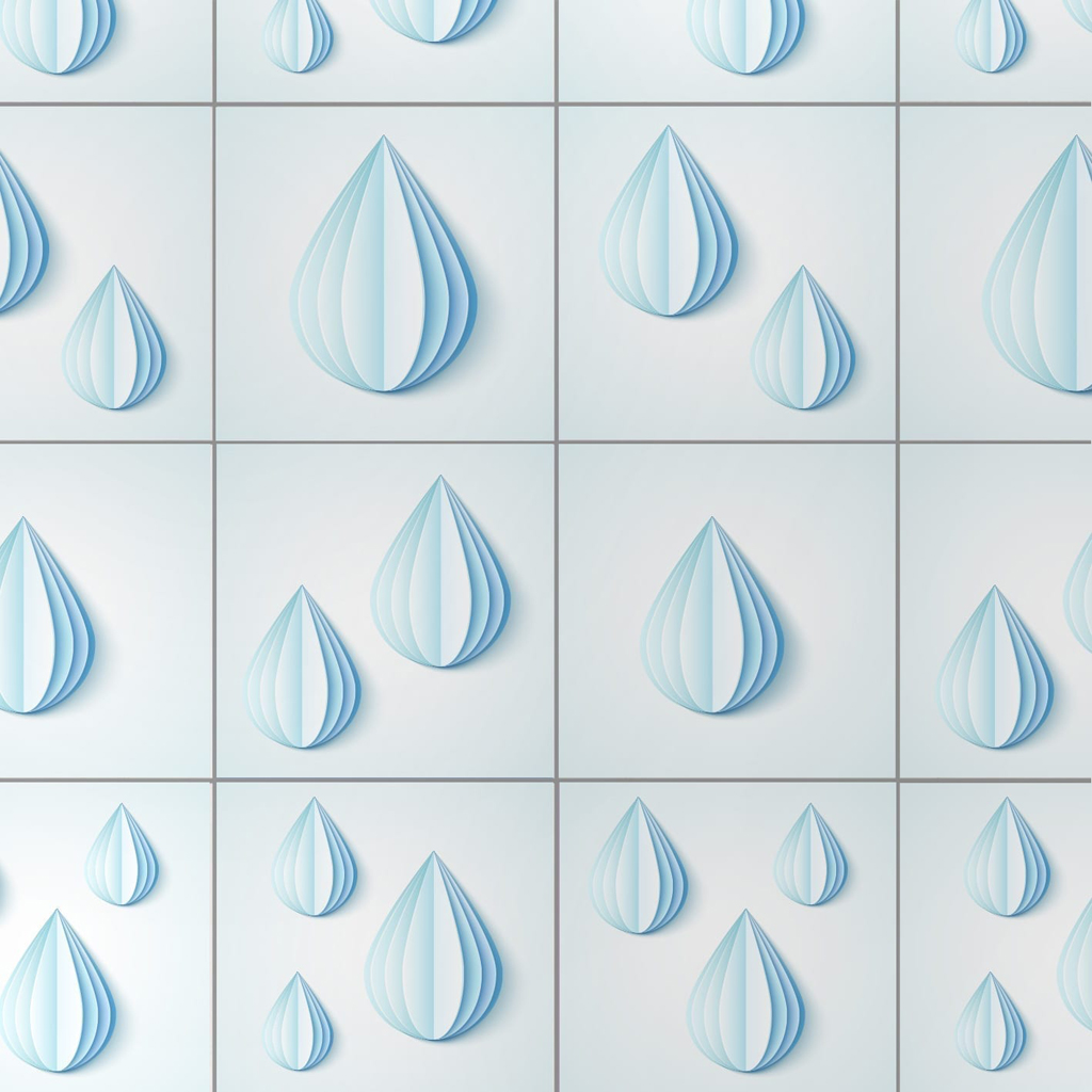 Origami Water Drops Tile Decals (Pack of 24)