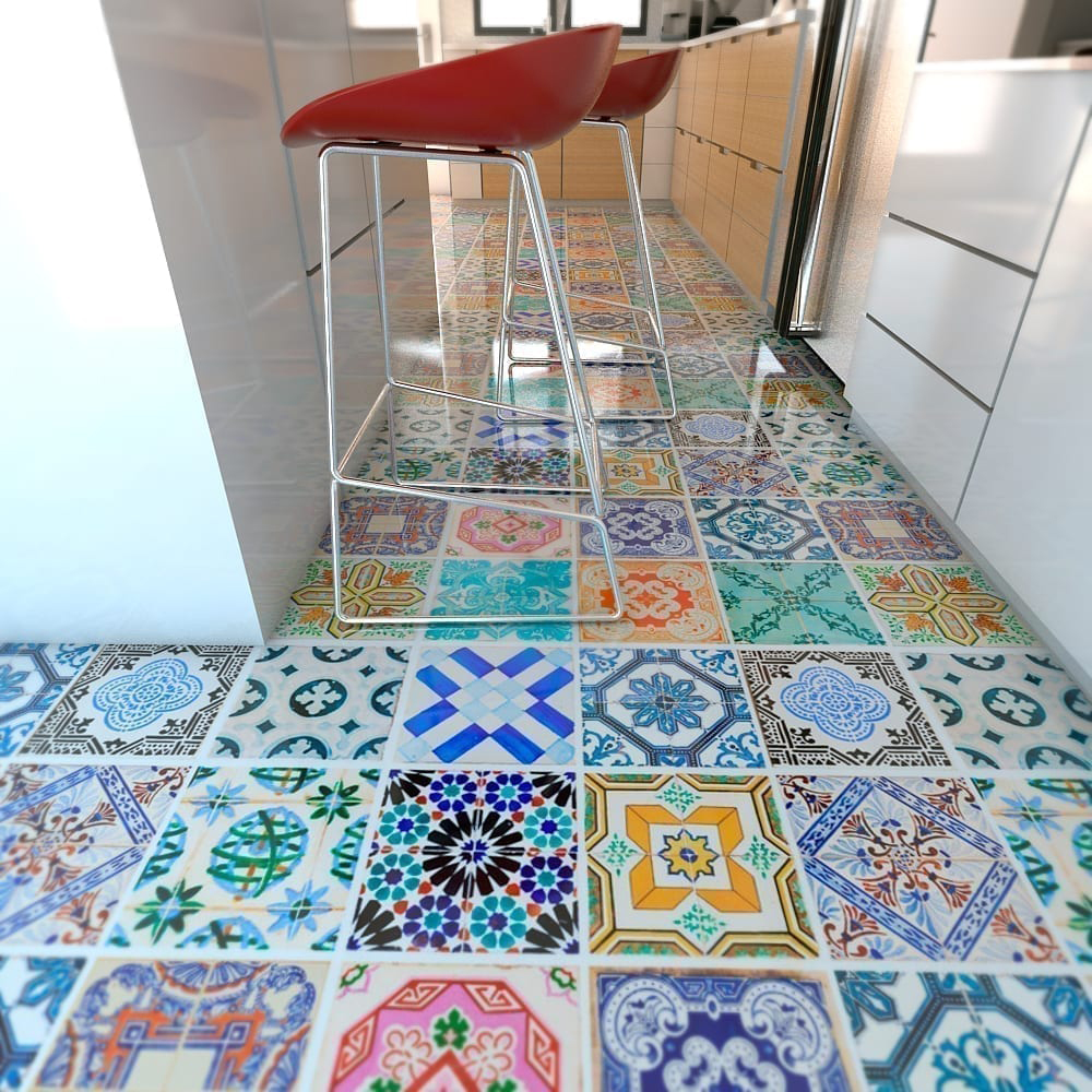 Traditional Spanish Floor Tiles Decals