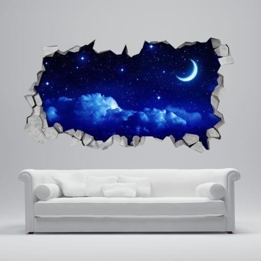 Starry Moon 3D Wallpaper