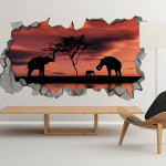 African sunset 3d wallpaper