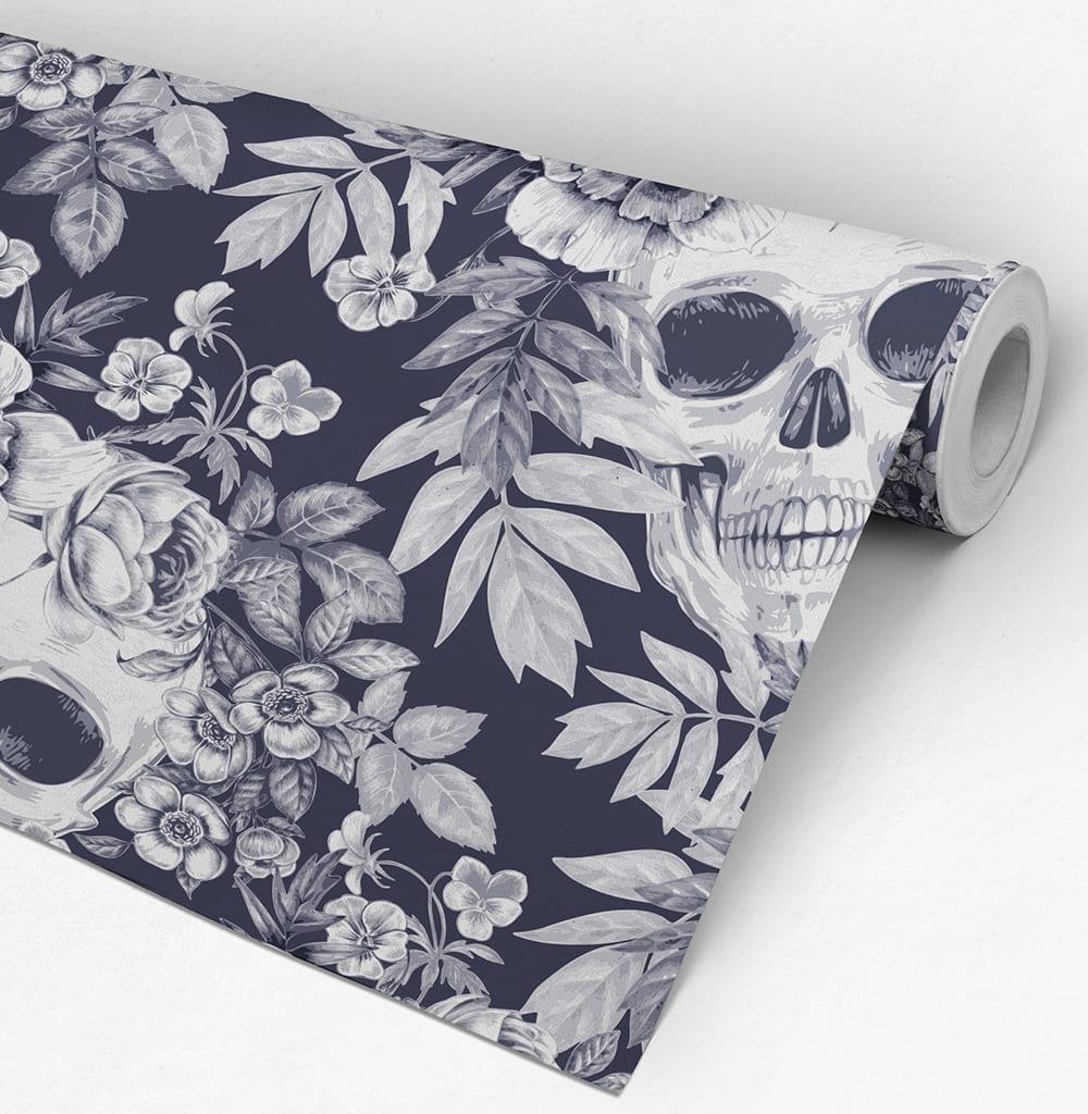 Hibiscus And Skulls Wallpaper Moonwallstickers Com