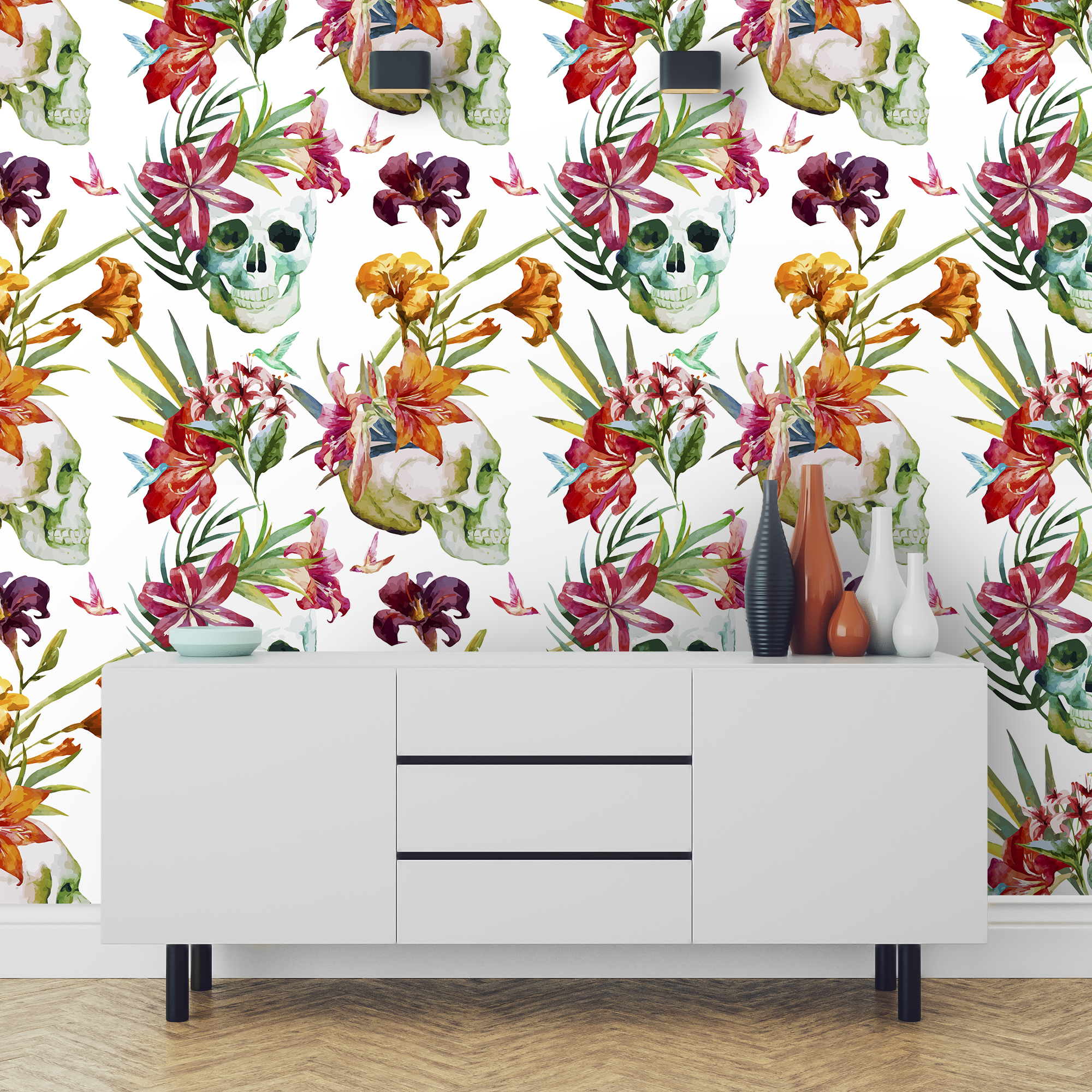 Watercolor Floral Skulls Wallpaper Moonwallstickers Com