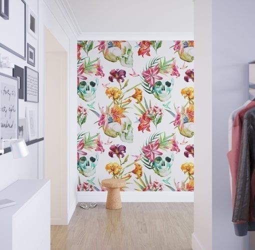 Watercolor Floral Skulls Wallpaper