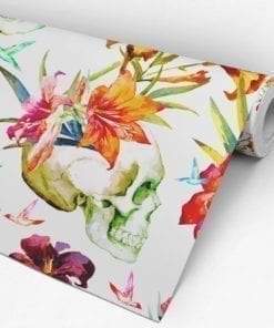 Watercolor Floral Skulls Wallpaper Roll