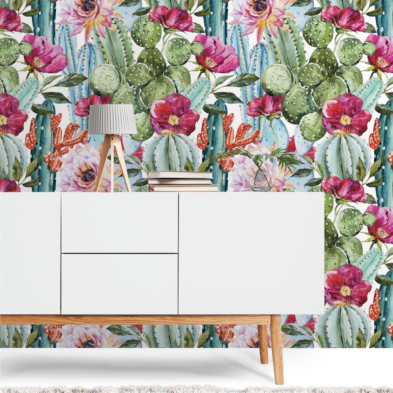 Watercolor Cactus Removable Wallpaper Moonwallstickers Com