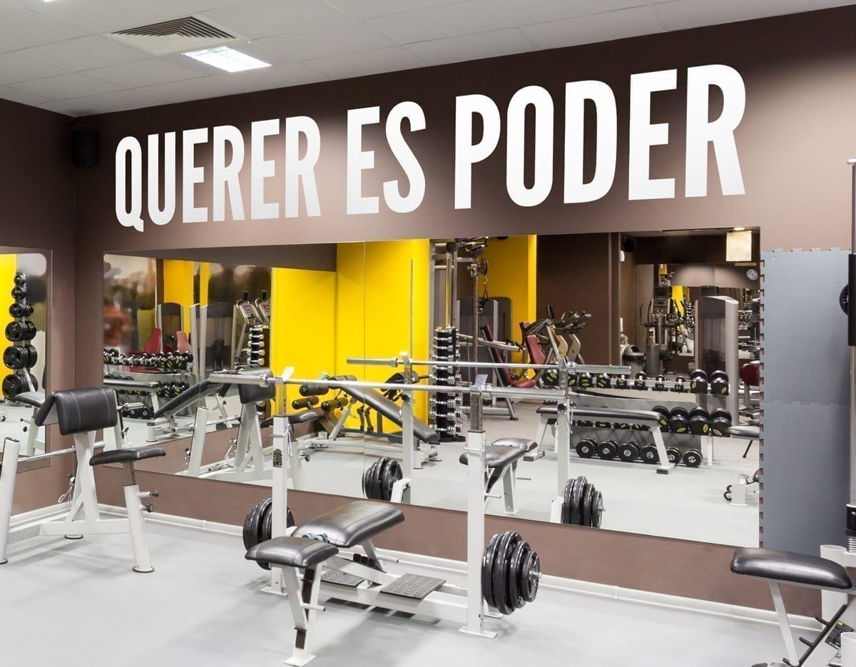 Querer es poder decoracion de gym - Decoracion gimnasio ...