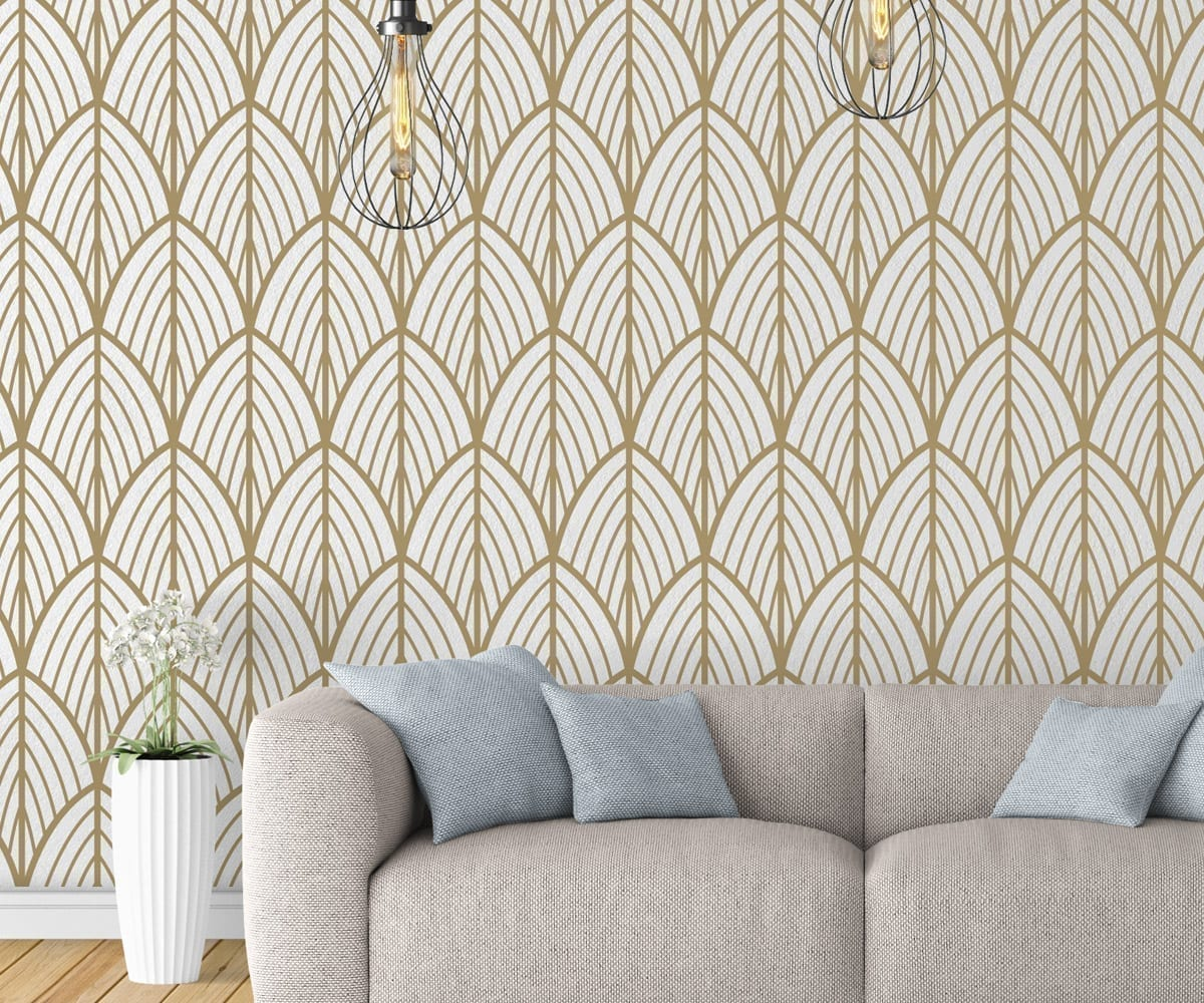 Art deco leaves removable wallpaper for Wallpapered walls