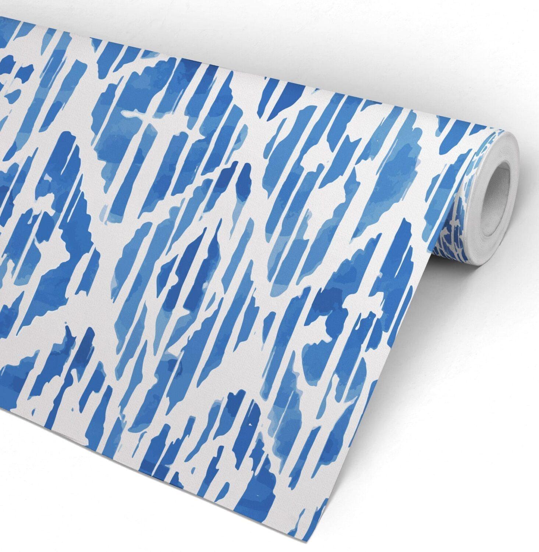 Blue Ikat Indigo Watercolor Wallpaper Roll