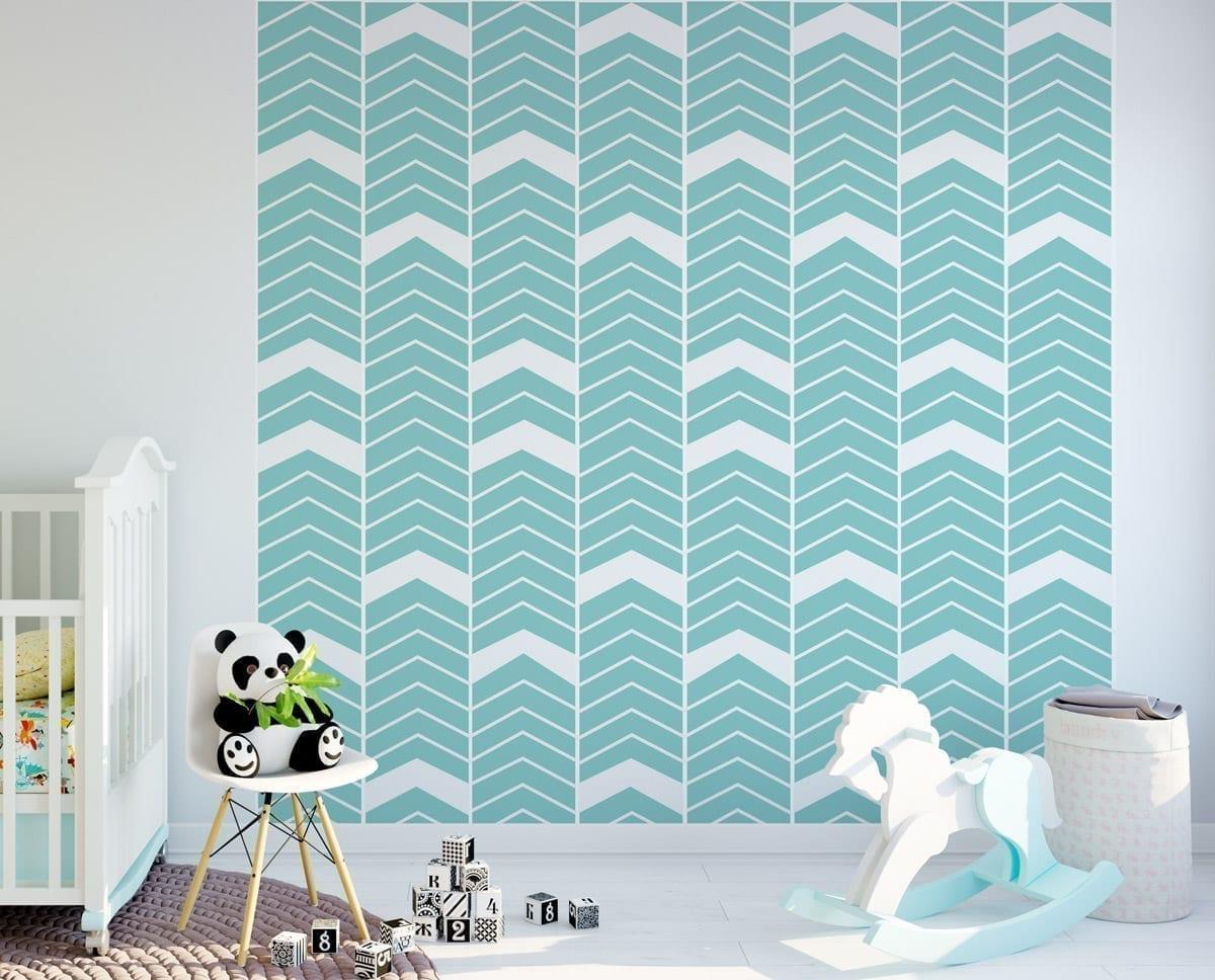 Chevron blue wall art for Blue wall art
