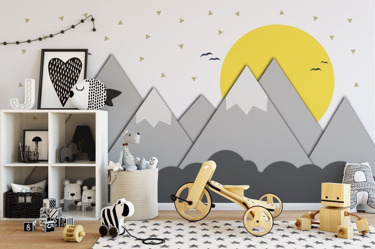 Mountains and sun nursery decor murals moonwallstickers mountains and sun nursery decor murals amipublicfo Image collections