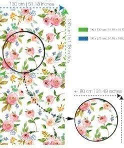 Watercolor Rose Flowers Repositionable Wallpaper - SPECS-XL