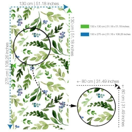Watercolor Green Leaves Repositionable Wallpaper Roll - SPECS-XL