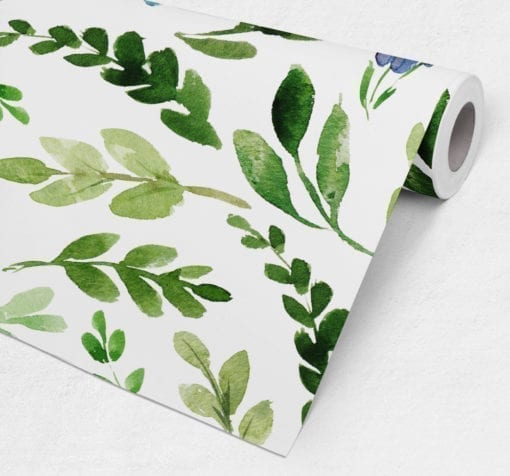 Watercolor Green Leaves Repositionable Wallpaper Roll