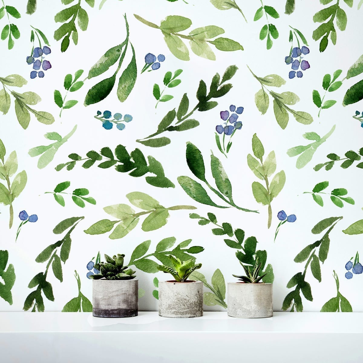 Wall Art Murals Decals Stickers Watercolor Green Leaves Repositionable Wallpaper