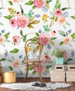 Watercolor Rose Flowers Repositionable Wallpaper