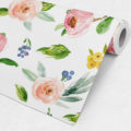 Watercolor Rose Flowers Repositionable Wallpaper Roll