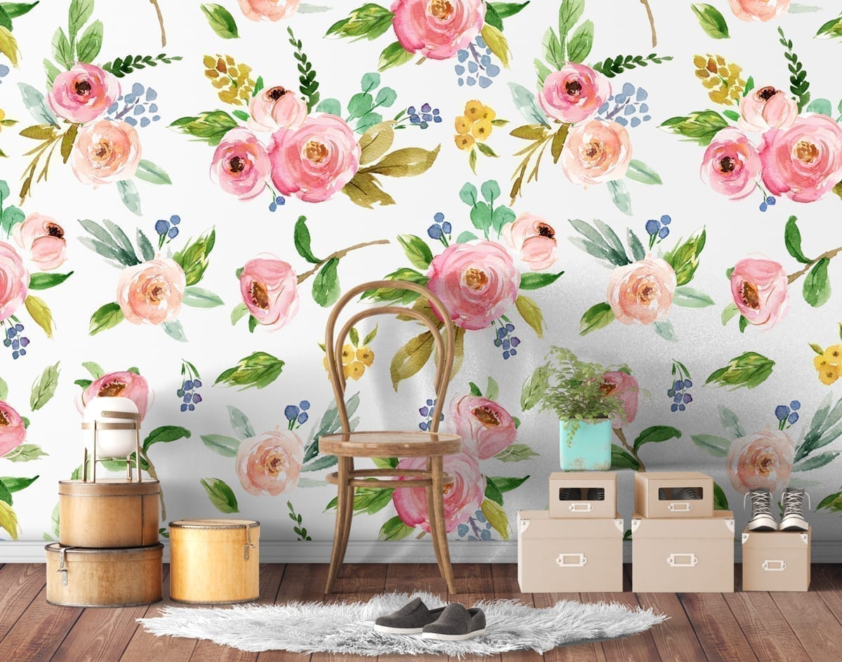 Waterverf Roos Bloemen Herpositioneerbaar Behang