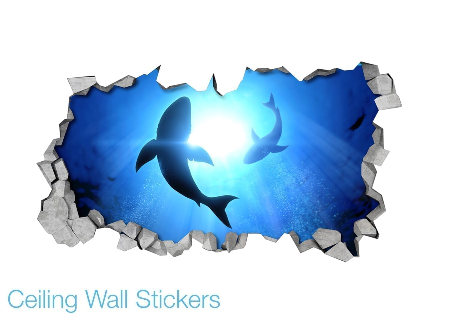 Sharks 3d effect ceiling decals moonwallstickers sharks 3d effect ceiling decals details amipublicfo Choice Image