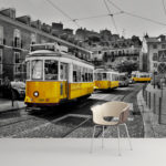 Tram in Lisbon Peel and Stick Wallpaper