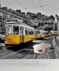 Tram in Lisbon Peel and Stick Wallpaper