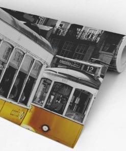 Tram in Lisbon Peel and Stick Wallpaper Roll