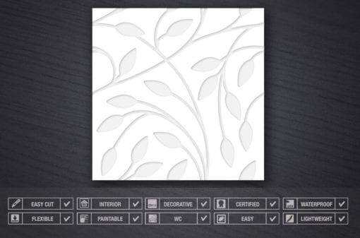 Floral Bas Relief 3D Wall Panels - Specs