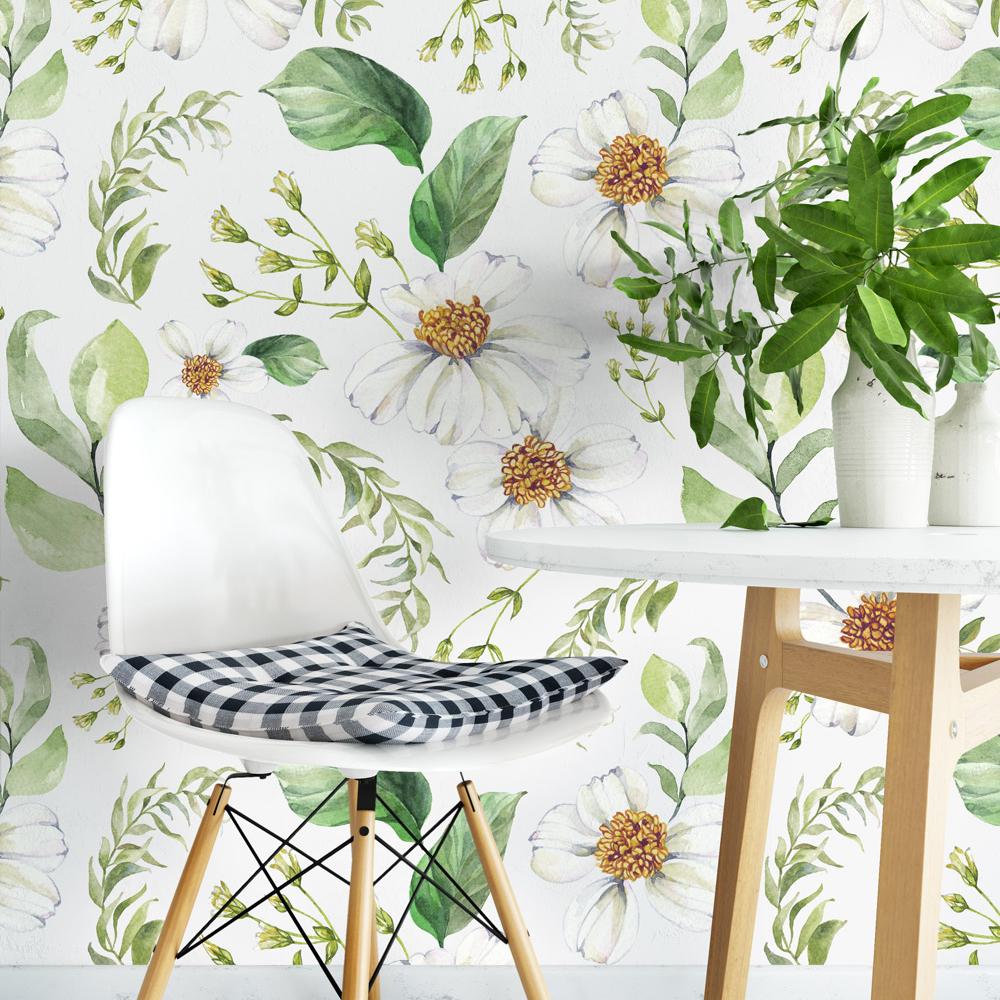 Green Floral Watercolor Wall Art Moonwallstickers Com