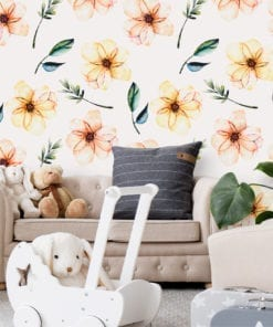 Baby Nursery Watercolor Flower Wallpaper
