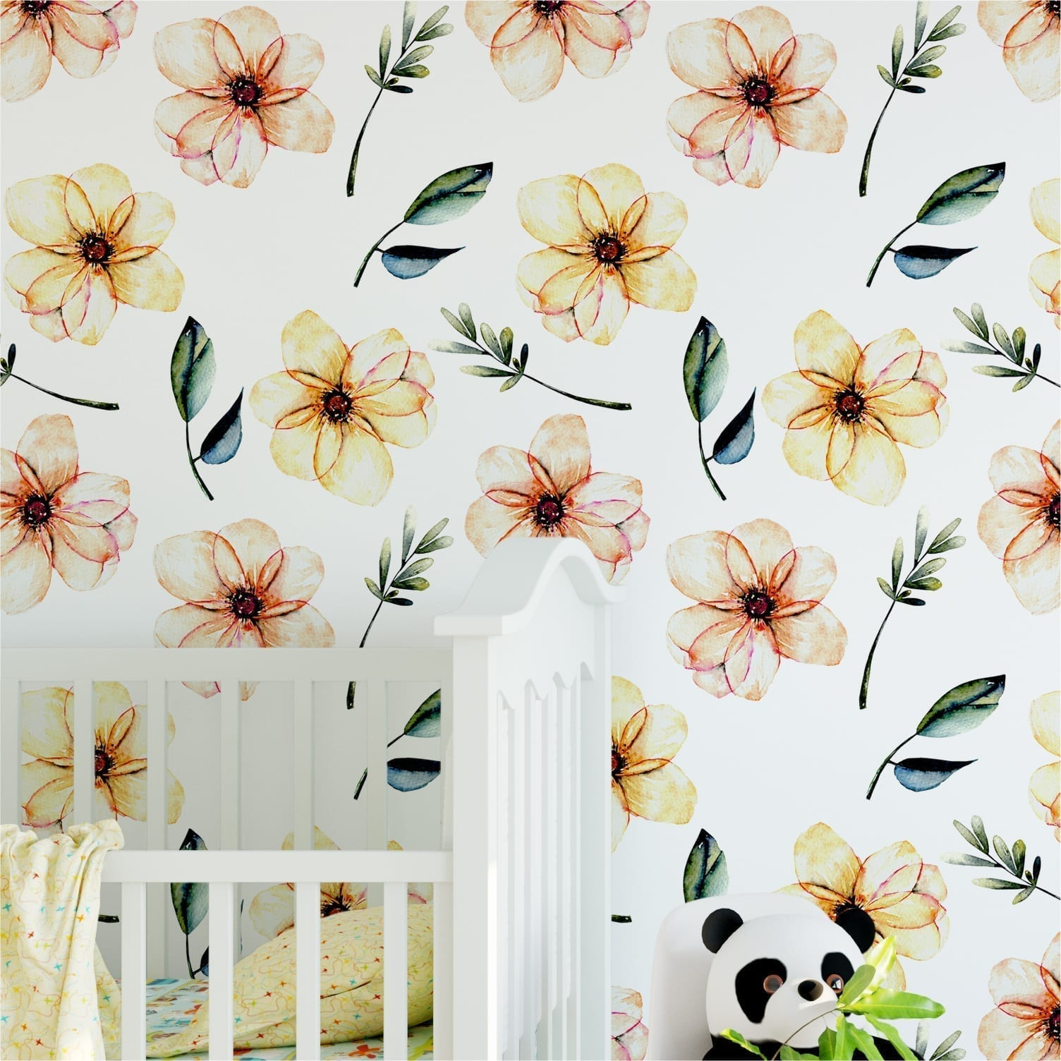 Baby Nursery Watercolor Flower Wallpaper Moonwallstickers Com